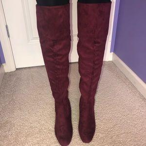 maroon suede knee high heel boots